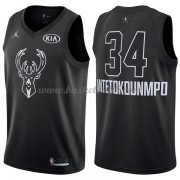 Milwaukee Bucks Giannis Antetokounmpo 34# Svart 2018 All Star Game NBA Basketlinne..